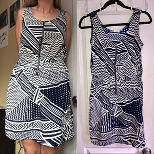 Peppermint White & Navy Geometric Sleeveless Dress